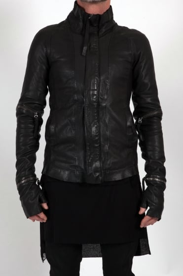 Front Zip Leather Jacket Black