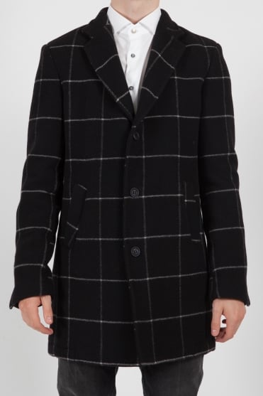 Checked Long Jacket Black