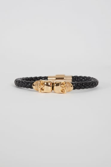 Twin Gold Skull Bracelet Black/Gold