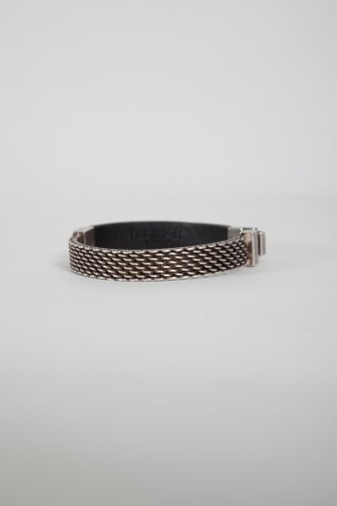 Nyaka Embroidered Tag Bracelet Grey/Aged Silver