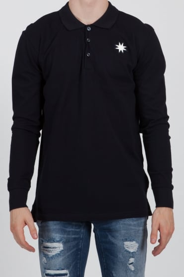 Star-Shaped Long Sleeved Polo Shirt Navy