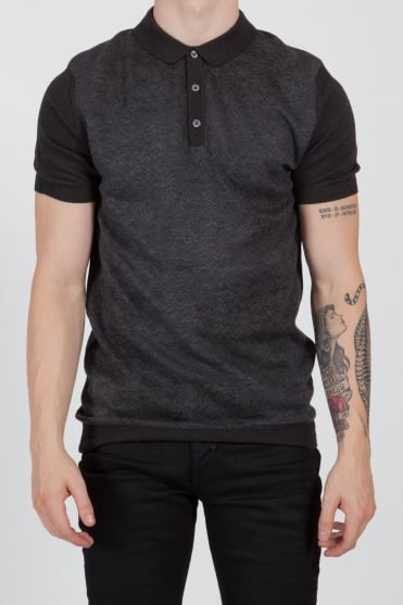Contrast Sleeve Knitted Polo Shirt Grey/Black