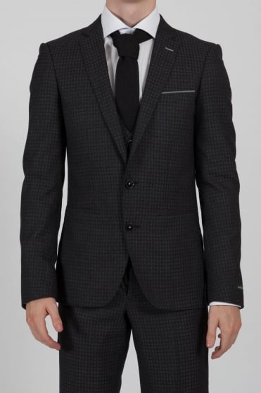 Spotted 3 Piece Suit Charcoal
