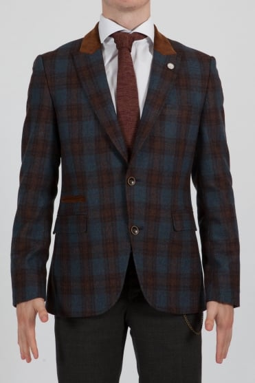 Multi-Check Blazer Navy
