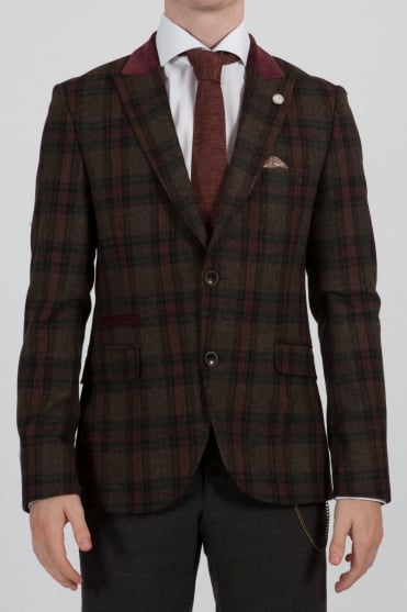 Multi-Check Blazer Green