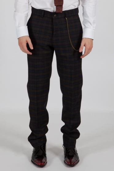 Tartan Trousers Navy/Green