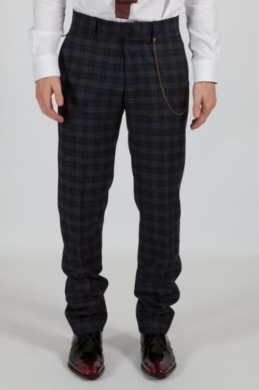 Tartan Trousers Blue/Orange