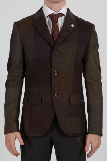 Mixed Checked Blazer Green/Brown
