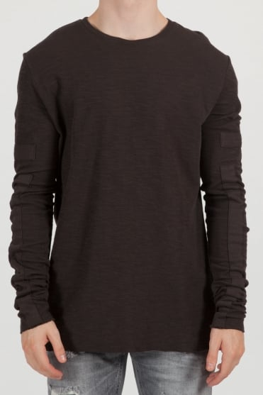 Crew Neck Patch Sweatshirt Dark Green