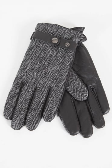 Tweed & Leather Gloves Grey