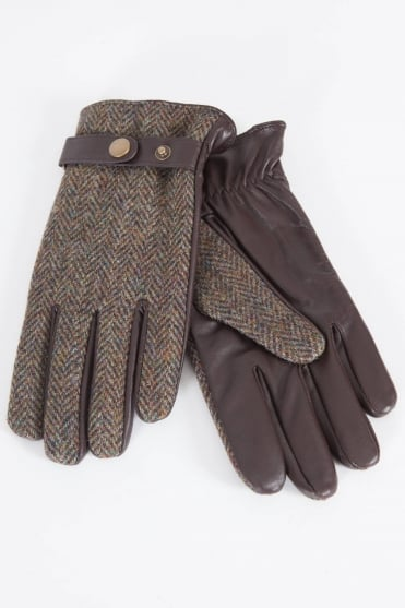 Tweed & Leather Gloves Brown
