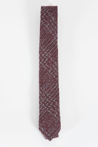 Narrow Checked Tie Burgundy