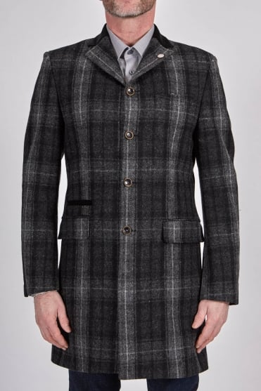 Winnie Multi-Check Long Coat Grey/Black