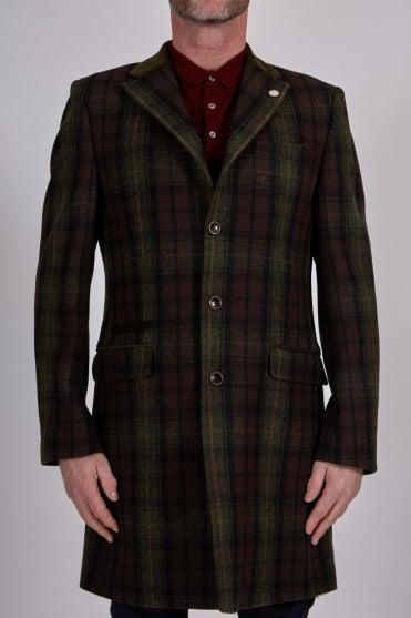 Winnie Multi-Check Long Coat Green