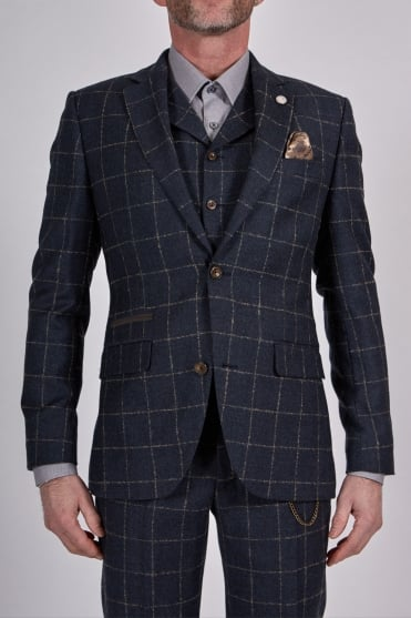 Windowpane Checked Suit Dark Blue