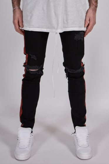 Stripe Jeans Black/Red