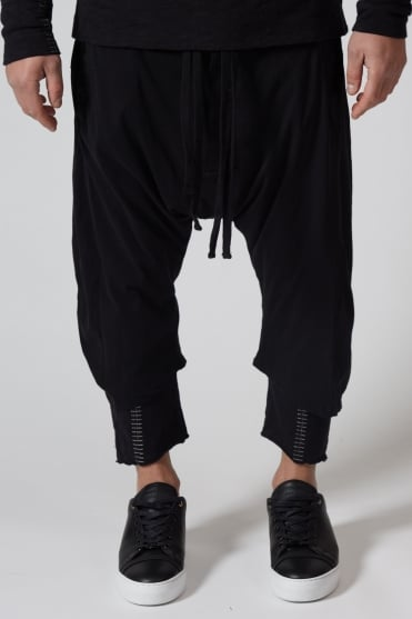 3/4 Length Drop Crotch Sweatpants Black