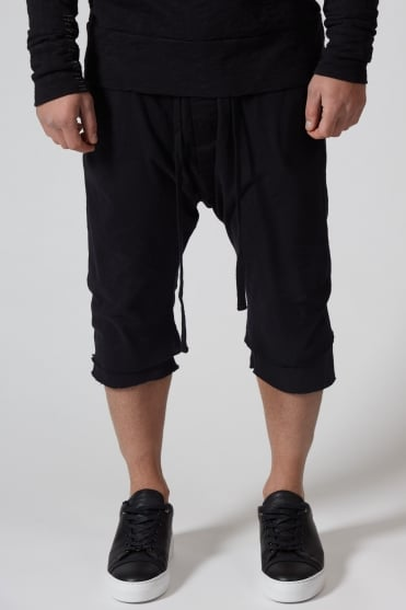 3/4 Length Double Layered Sweatpants Black