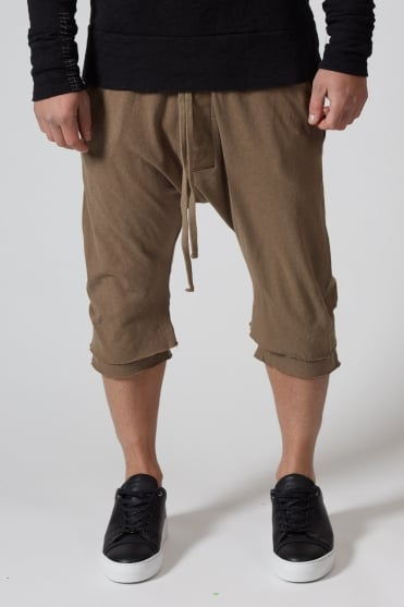 3/4 Double Layered Sweatpants Dark Sand