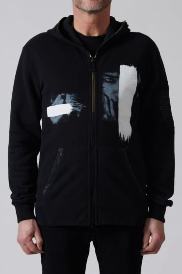Print Leather Patch Hoodie Black