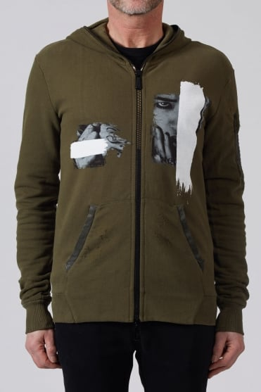 Print Leather Patch Hoodie Olive