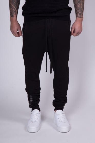 Drop Crotch Stitched Sweatpant Black