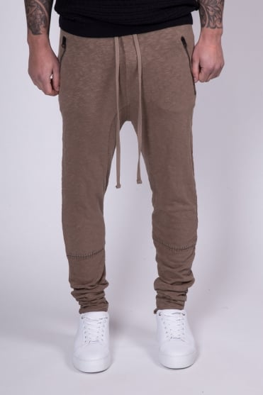 Drop Crotch Knee Stitched Sweatpants Dark Sand