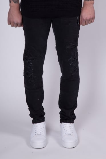 Distressed Leather Patch Jeans Black