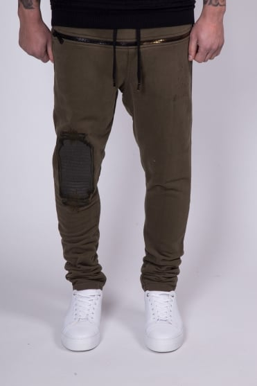 Leather Embroidery Zip Sweatpants Olive