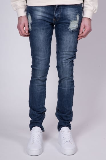 Ankle Zip Jeans Dark Blue