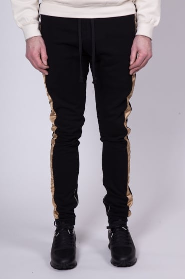 Dusted Gold Stripe Sweatpants Black