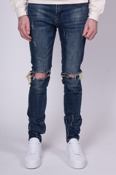 Destroyed Skinny Fit Jeans Dark Blue