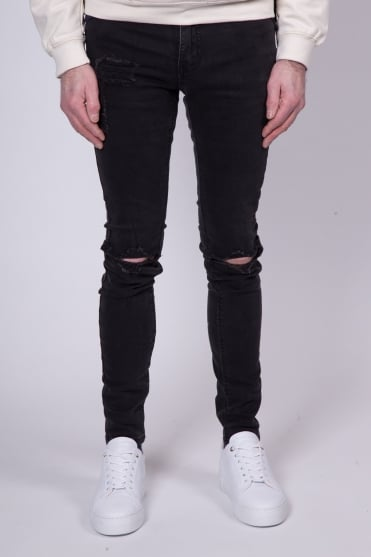 Destroyed Knee Jeans Black