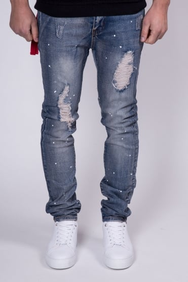 Paint Splatter Skinny Fit Jeans Blue